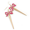 Long Spiky Earrings With Deep Pink Crystal Bow In Gold Plating - 8.5cm Length