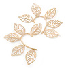 One Pair Oversized Leaf Hook Cuff Earring In Gold Plating