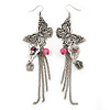 Long Burn Silver Chain Butterfly Drop Earrings - 13cm Length