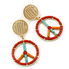 Multicoloured Bead 'Peace & Love' Drop Earrings In Gold Plating - 6cm Length