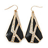 Crystal, Black Enamel Geometric Drop Earrings In Gold Plating - 5cm Length