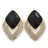 Diamante Black Acrylic Bead Diamond Shape Stud Earrings In Gold Plating - 37mm Length