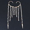 One Pair Long Dangle Cream Faux Pearl Bead Hook Cuff Earring In Gold Plating - 16cm Length