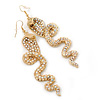 Long Exotic AB Crystal &#039;Cobra&#039; Drop Earrings In Gold Plating - 8.5cm Length
