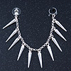 Hanging Spiked Cuff Earring In Silver Plating