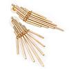 AB Crystal Geometric Dangle Earrings In Gold Plating - 6cm Drop