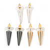 3 Pairs Gold, Silver & Hematite Colour Spike Stud Earring Set - 18mm Width