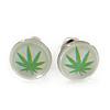 Tiny Marijuana Leaf Stud Earrings In Silver Tone (White/ Green) - 7mm Diameter
