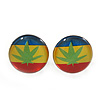 Tiny Marijuana Leaf Rasta Colours Stud Earrings In Silver Tone - 7mm Diameter