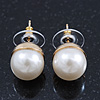 Classic White Faux Pearl Stud Earrings In Gold Tone Plating - 10mm Diameter