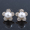 Prom/ Teen Simulated Glass Pearl, Crystal 'Daisy' Stud Earrings In Gold Plating - 15mm Diameter