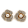Prom Gold Plated Pave Set Clear Crystal Simulated Pearl 'Flower' Stud Earrings - 20mm Width
