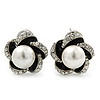 Rhodium Plated Crystal Simulated Glass Pearl 'Flower' Stud Earrings - 20mm Diameter