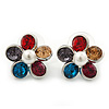 Multicoloured Crystal 'Daisy' Stud Earrings In Rhodium Plating - 20mm Diameter