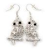 Clear Diamante 'Owl' Drop Earrings In Rhodium Plating - 4.5cm Length