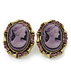 Vintage Oval Shaped Violet/ Pink Diamante Cameo Stud Earring In Antique Gold Plating - 25mm Length