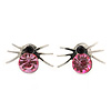 Small Light Pink/ Black Crystal 'Spider' Stud Earrings In Silver Plating - 12mm Across