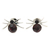 Small Deep Purple/ Black Crystal 'Spider' Stud Earrings In Silver Plating - 12mm Across