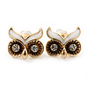 Children's/ Teen's / Kid's Small 'Owl' Stud Earrings In Gold Plating - 11mm Width