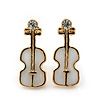 Children's/ Teen's / Kid's Small White Enamel 'Violin' Stud Earrings In Gold Plating - 13mm Length