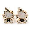 Children's/ Teen's / Kid's Small White/ Black Enamel 'Kitty in the Hat' Stud Earrings In Gold Plating - 13mm Length