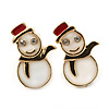 Children's/ Teen's / Kid's Small White, Red Enamel 'Snowman' Stud Earrings In Gold Plating - 15mm Length