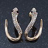 Sleek Diamante 'Snake' Stud Earrings In Gold Plating - 25mm Length