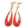 Coral Enamel Teardrop Earrings In Gold Plating - 65mm Length