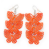 Neon Orange Lightweight Filigree Triple Butterfly Drop Earrings In Silver Tone - 75mm Length