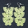 Neon Yellow Lightweight Filigree Triple Butterfly Drop Earrings In Silver Tone - 75mm Length