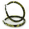 Medium Lemon Yellow/ Black Snake Print Hoop Earrings In Silver Tone - 55mm Diameter