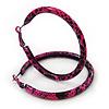 Medium Deep Pink/ Black Snake Print Hoop Earrings In Silver Tone - 55mm Diameter