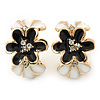 Black/ White Crystal Floral Clip On Earrings In Gold Plating - 22mm Length