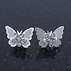 Teen Rhodium Plated Clear Crystal 'Butterfly' Stud Earrings - 15mm Width