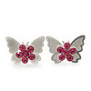 Teen Rhodium Plated Pink Crystal 'Butterfly' Stud Earrings - 15mm Width
