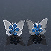 Teen Rhodium Plated Sky Blue Crystal 'Butterfly' Stud Earrings - 15mm Width