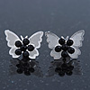 Teen Rhodium Plated Black Crystal 'Butterfly' Stud Earrings - 15mm Width
