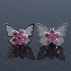 Teen Rhodium Plated Light Pink Crystal 'Butterfly' Stud Earrings - 15mm Width