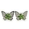 Teen Rhodium Plated Light Green Crystal 'Butterfly' Stud Earrings - 15mm Width