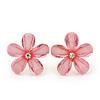 Light Pink Acrylic 'Daisy' Stud Earrings In Gold Plating - 25mm Diameter