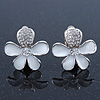 White Enamel Diamante &#039;Daisy&#039; Clip On Earrings In Rhodium Plating - 25mm Diameter