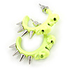 Teen Skulls and Spikes Small Hoop Earrings in Neon Yellow (Silver Tone) - 30mm Width