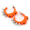 Teen Skulls and Spikes Small Hoop Earrings in Neon Orange (Silver Tone) - 30mm Width