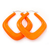 Large Matte Acrylic Square Doorknocker Hoop Earrings in Neon Orange - 6cm Diamete