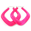 Large Matte Acrylic Square Doorknocker Hoop Earrings in Neon Pink - 6cm Diameter