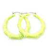 Medium Sized Bamboo Textured Doorknocker Hoop Earrings in Neon Yellow - 5cm Diameter