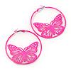 Neon Pink Filigree Butterfly Metal Hoop Earrings - 6cm Diameter