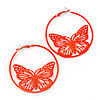 Neon Orange Filigree Butterfly Metal Hoop Earrings - 6cm Diameter