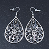 Burn Silver Marcasite Filigree Diamante Teardrop Earrings - 68mm Length