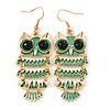 Light Green Enamel 'Owl' Drop Earrings In Gold Plating - 7cm Length